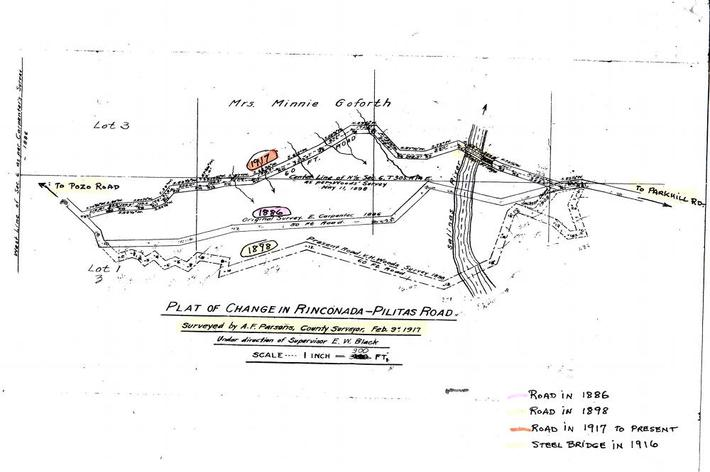 Roy Parsons put together the notes on this old map of the bridge site.