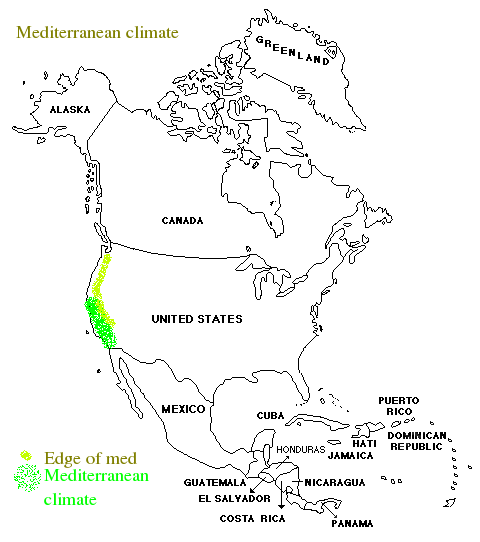 The mediterranean climate in North America is all California, but the edges can be very similar and are sometimes included.