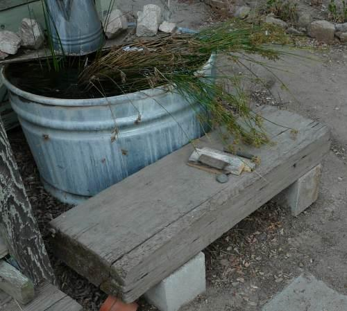 How to build a simple easy garden bench or seat for Easy fish pond