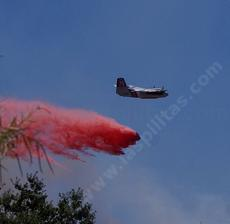 A bomber dropping fire retardant across the street from the nursery. - grid24_6