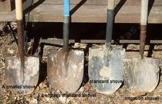 Some of the different shovels that have been used for planting our native plants. - grid24_6